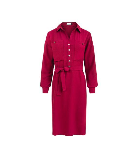 258-1 BROOKE Sukienka szmizjerka - BORDOWA