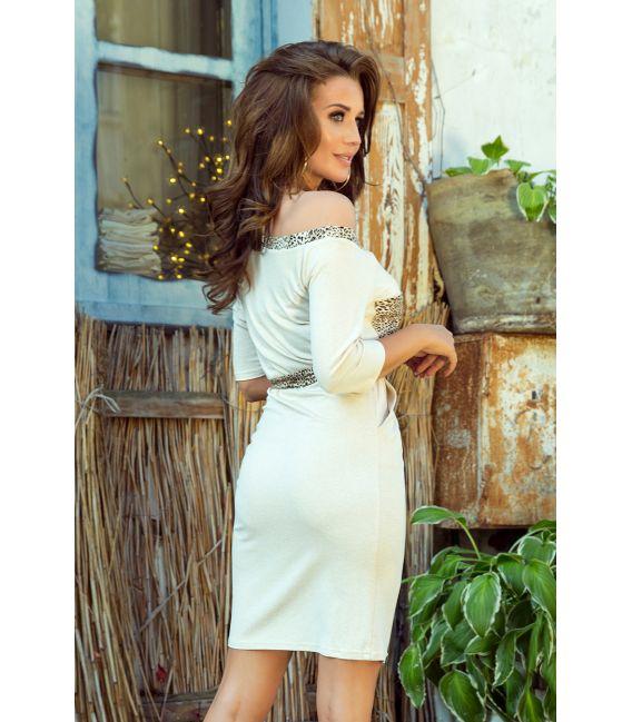 278-2 Sukienka z kieszonką - BEŻ + PANTERKA