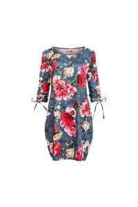 281-2 SOPHIE Wygodna sukienka Oversize - KWIATY NA JEANSIE