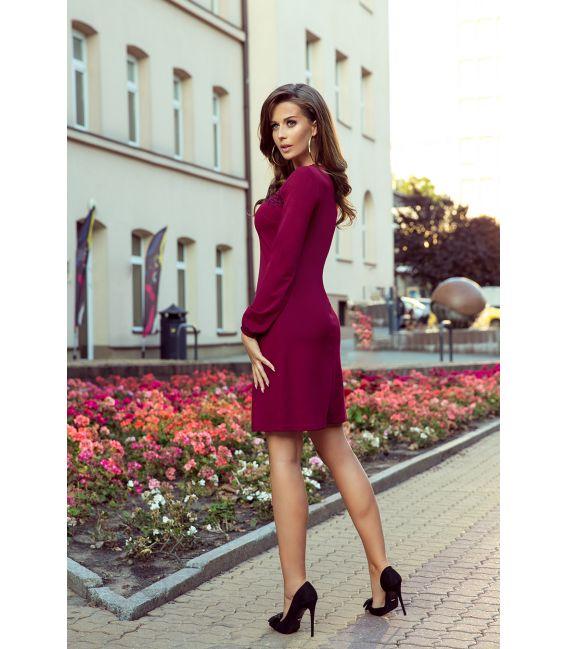 291-1 MOIRA Trapezowa sukienka z koronką - BORDOWA