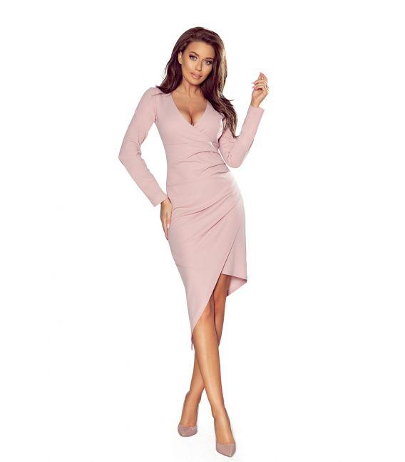 290-1 Asymetryczna sukienka z dekoltem i drapowaniem - LILA