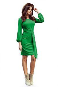 275-4 JENNY Wygodna sukienka z wiązaniem w pasie - ZIELONA