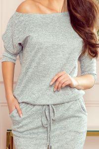 13-117 Sukienka sportowa ze sweterkowego materiału - SZARY MELANŻ