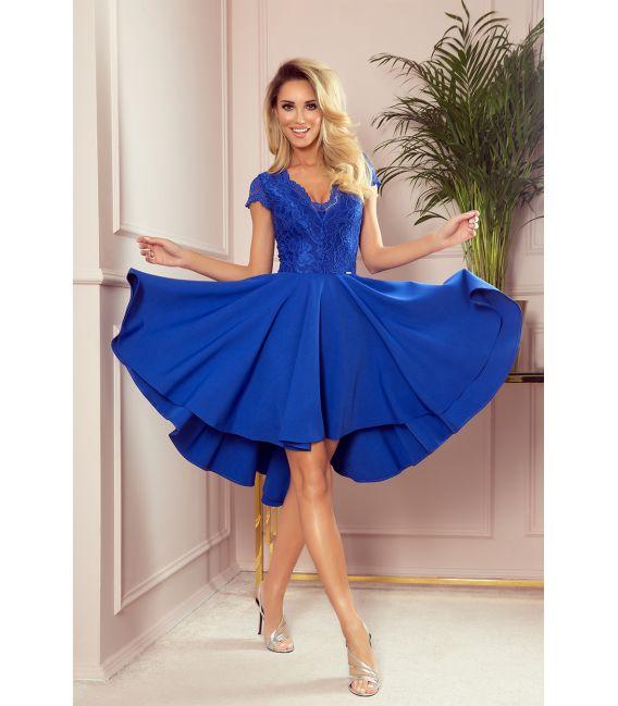 300-3 PATRICIA - sukienka z dłuższym tyłem i koronkowym dekoltem - CHABROWA