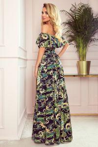 194-4 Długa suknia z hiszpańskim dekoltem - zielone liście i złote łańcuszki