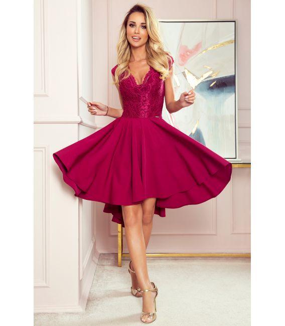 300-4 PATRICIA - sukienka z dłuższym tyłem i koronkowym dekoltem - BORDOWA