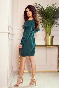 293-1 OVERSIZE Luźna dresowa sukienka - ZIELEŃ BUTELKOWA