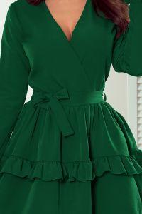 297-1 CAROLINE sukienka z falbanami i kopertowym dekoltem - BUTELKOWA ZIELEŃ