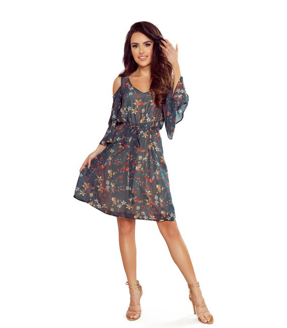292-2 MARINA zwiewna sukienka z dekoltem - ZIELONA W KWIATY