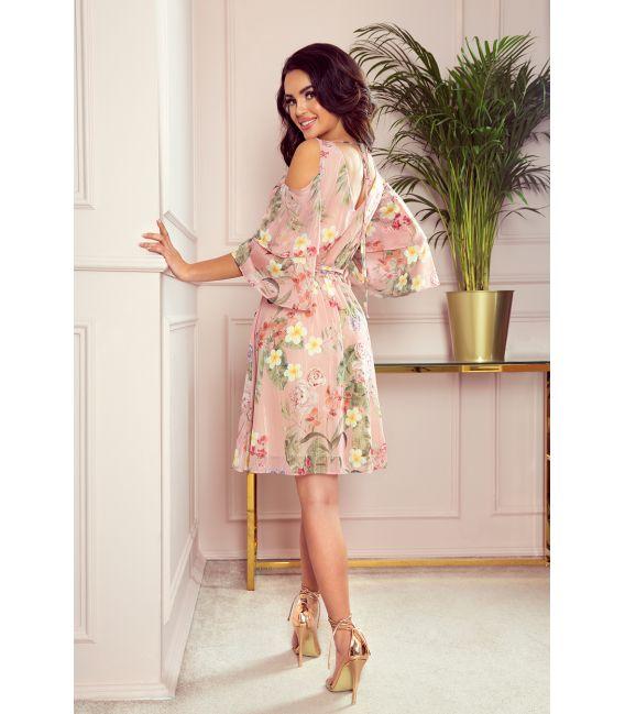 292-1 MARINA zwiewna szyfonowa sukienka z dekoltem - RÓŻOWA W KWIATY