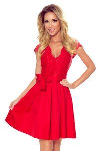 242-4 ANNA sukienka z dekoltem i koronką - CZERWONA