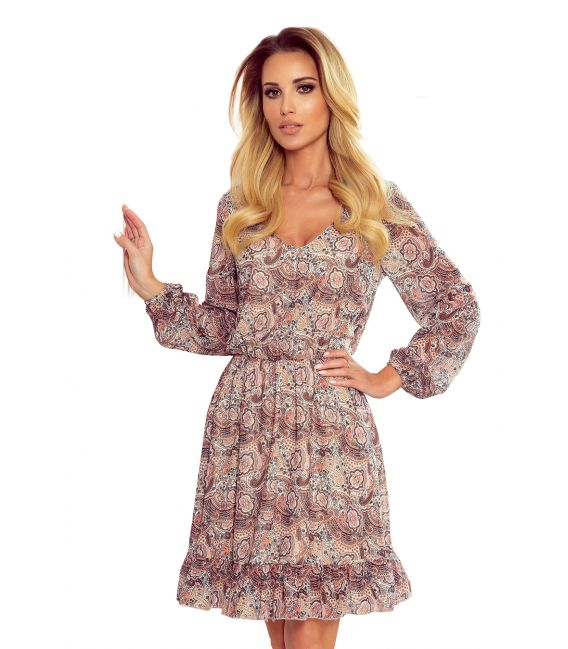 295-1 BAKARI zwiewna szyfonowa sukienka z dekoltem - wzór BOHO
