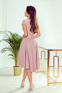 300-1 PATRICIA - sukienka z dłuższym tyłem i koronkowym dekoltem - PUDROWY RÓŻ