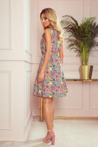 296-1 VICTORIA Trapezowa sukienka w kolorowy wzór