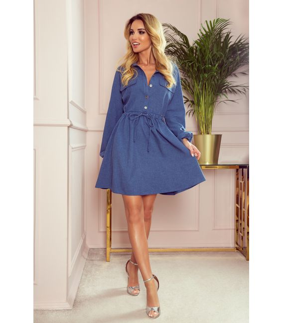 298-2 CLARA - Koszulowa sukienka z guzikami i długim rękawkiem - niebieska