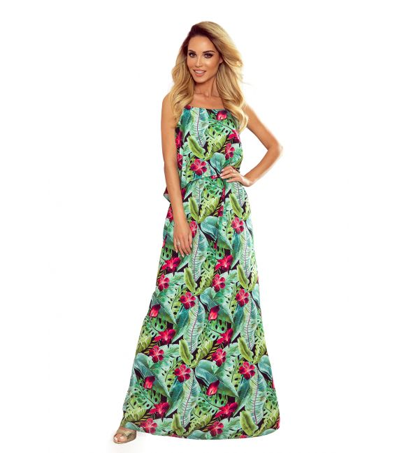 294-2 Długa letnia sukienka na ramiączkach - ZIELONE LIŚCIE I RÓŻOWE KWIATY