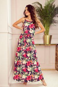 294-1 Długa letnia sukienka na ramiączkach - CZERWONE KWIATY