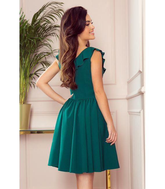 307-2 POLA sukienka z falbankami na dekolcie - BUTELKOWA ZIELEŃ