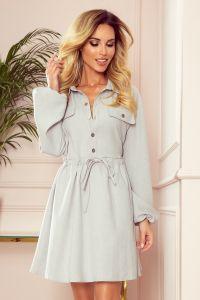 298-1 CLARA - Koszulowa sukienka z guzikami i długim rękawkiem - SZARA