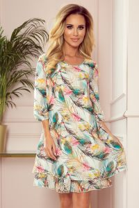 303-1 IVETTE szyfonowa sukienka z dekoltem na plecach - KOLOROWE PIÓRA