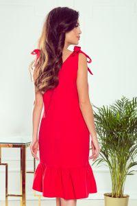 306-1 ROSITA Sukienka z kokardkami na ramionach i falbanką - CZERWONA