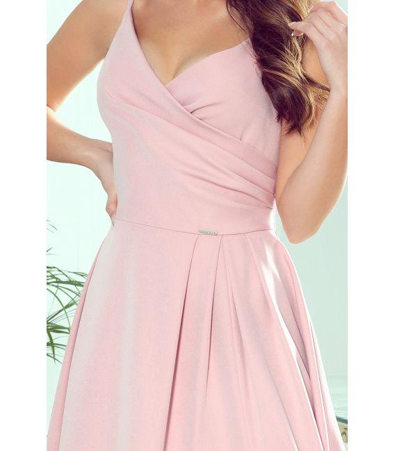 299-2 CHIARA elegancka maxi suknia na ramiączkach - PUDROWY RÓŻ