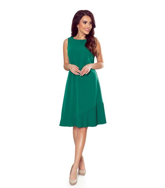 308-1 KARINE - trapezowa sukienka z asymetryczną plisą - ZIELONA