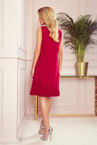 308-2 KARINE - trapezowa sukienka z asymetryczną plisą - CZERWONA