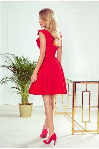 307-1 POLA sukienka z falbankami na dekolcie - CZERWONA