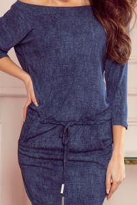 13-77 Sukienka sportowa z kieszonkami - jeans granatowy