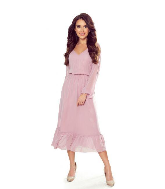 304-1 Szyfonowa sukienka midi z dekoltem i falbanką - BRUDNY RÓŻ
