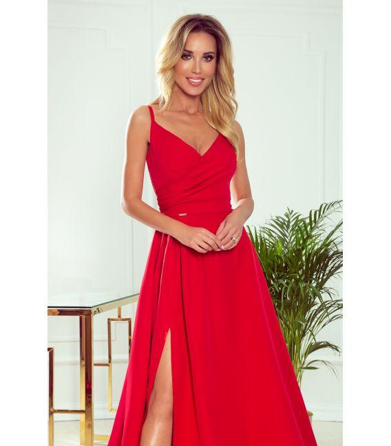 299-1 CHIARA elegancka maxi suknia na ramiączkach - CZERWONA
