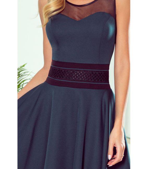261-2 RICA Sukienka z tiulowymi wstawkami - ZIELEŃ BUTELKOWA
