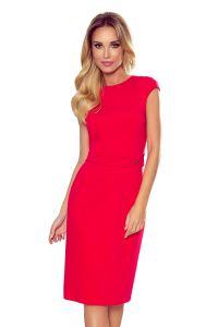 301-2 TAMARA Elegancka sukienka midi z PASKIEM - CZERWONA