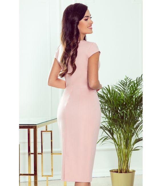 301-1 TAMARA Elegancka sukienka midi z PASKIEM - PUDROWY RÓŻ