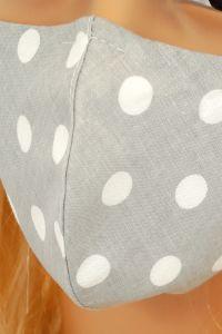 CV09 Maseczki wielorazowe - szara w groszki - bawełna 100% - 2 szt