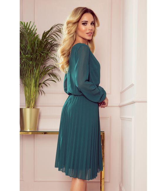 313-1 ISABELLE Plisowana sukienka z dekoltem i długim rękawkiem - BUTELKOWA ZIELEŃ