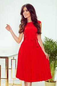 311-1 LILA Plisowana sukienka z krótkim rękawkiem - CZERWONA