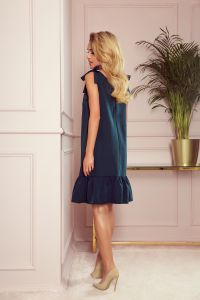 306-2 ROSITA Sukienka z kokardkami na ramionach i falbanką - ZIELEŃ BUTELKOWA