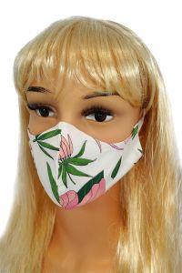 CV010 Maseczki wielorazowe - Różowe kwiaty - bawełna 100% - 2 szt