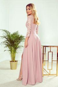 309-4 AMBER elegancka koronkowa długa suknia z dekoltem - PUDROWY RÓŻ