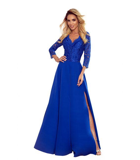 309-2 AMBER elegancka koronkowa długa suknia z dekoltem - CHABROWA