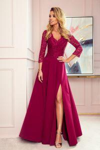 309-1 AMBER elegancka koronkowa długa suknia z dekoltem - BORDOWA
