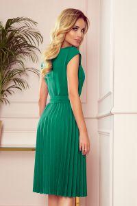 311-3 LILA Plisowana sukienka z krótkim rękawkiem - ZIELEŃ BUTELKOWA