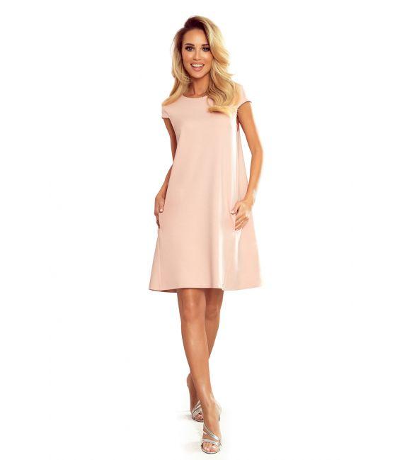 314-1 CELINE Trapezowa sukienka z kieszonkami - PASTELOWY RÓŻ