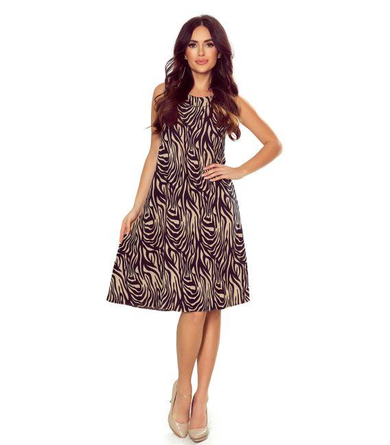 296-2 VICTORIA Trapezowa sukienka - BEŻOWA ZEBRA