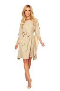 287-10 SOFIA Sukienka motyl - wzór - BEŻOWY LEN