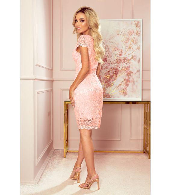 316-2 Koronkowa sukienka z krótkim rękawkiem i dekoltem - BRZOSKWINIA