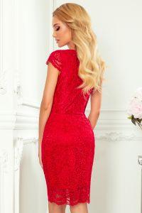 316-1 Koronkowa sukienka z krótkim rękawkiem i dekoltem - CZERWONA