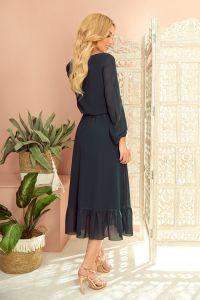 304-2 Szyfonowa sukienka midi z dekoltem i falbanką - ZIELEŃ BUTELKOWA